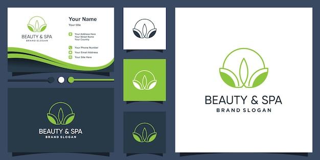 Schoonheids- en spa-logo met creatieve unieke stijl premium vector