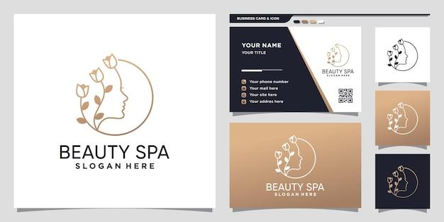 Schoonheids- en spa-logo met lijnstijl en visitekaartjeontwerp premium vector