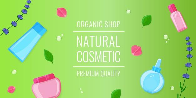 Schoonheidsbanner met gezichtscosmetischee producten, bladeren, lavendel en roze bloesem op groen