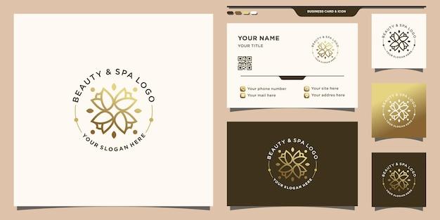 Schoonheidsbloemroos-logo met uniek concept en visitekaartjeontwerp premium vector