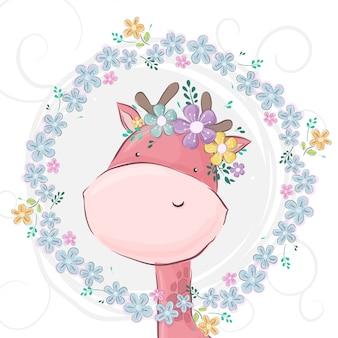 Schoonheidsgiraf met bloem