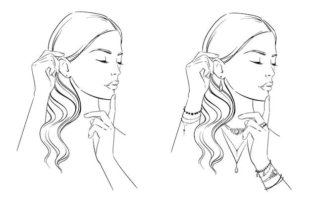 Schoonheidsillustratie modeportret van een vrouw met haar handen op haar gezicht voor het weergeven van sieraden
