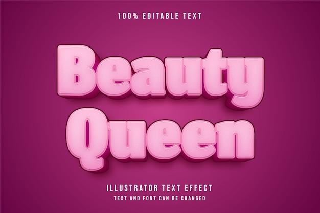 Schoonheidskoningin, 3d bewerkbaar teksteffect roze gradatie schattig effect