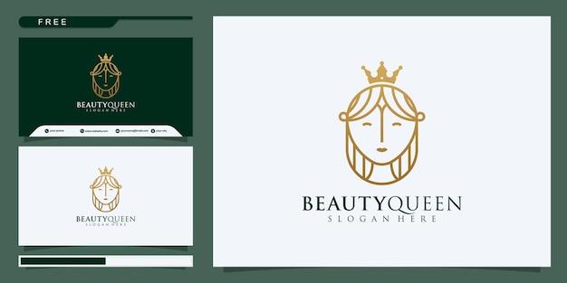 Schoonheidskoningin dame logo ontwerp.