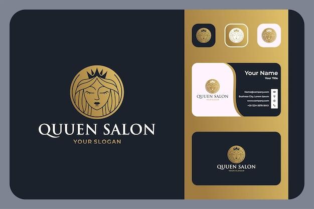 Schoonheidskoningin salon logo ontwerp en visitekaartje