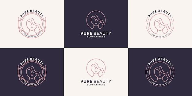 Schoonheidslogo-collectie met lijnstijl premium vector