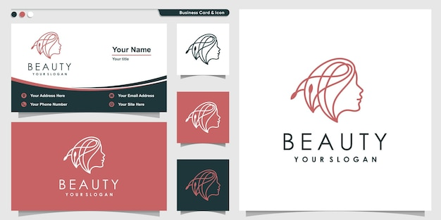 Schoonheidslogo met lijnstijl en ontwerpsjabloon voor visitekaartjes premium vector