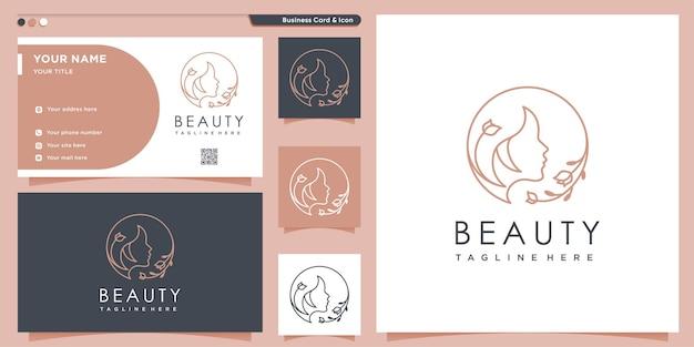 Schoonheidslogo-ontwerp met creatieve unieke stijl premium vector