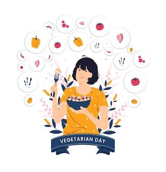 Schoonheidsmeisje voelt zich gelukkig met het eten van dieetvoedselsalade voor een goede gezondheid op de illustratie van het vegetarische dagconcept