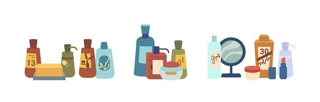 Schoonheidsproducten verpakkingen cosmetica diverse huid- en lichaamsverzorgingsflessen potjes zeep en spiegel plat