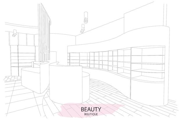 Schoonheidssalon interieur schets met modern design