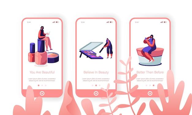 Schoonheidssalon mobiele app-pagina schermset aan boord