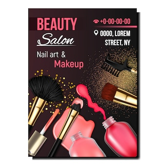 Schoonheidssalon nagel kunst en make-up banner
