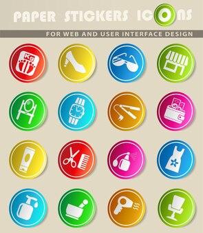 Schoonheidssalon vector iconen op gekleurde papieren stickers