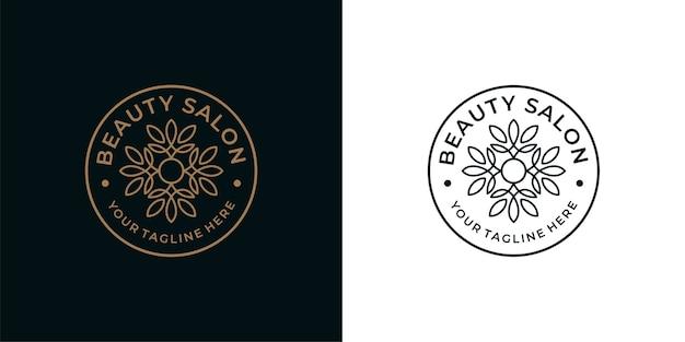 Schoonheidssalon vintage lijntekeningen logo ontwerp