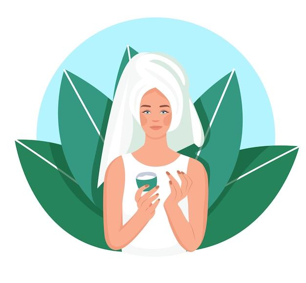 Schoonheidssalon voor persoonlijke hygiëne. zelfzorg thuis. een meisje in een badpak smeert een crème in. illustratie in cartoon vlakke stijl