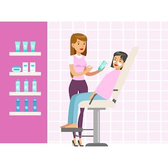 Schoonheidsspecialist die vrouwen wit masker op gezicht in salon toepast. kleurrijke stripfiguur illustratie