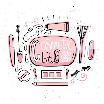 Schoonheidsspecialist. illustratie in handgetekende stijl. een reeks items die zich in de make-up bevinden