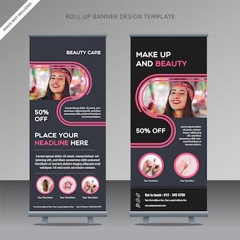 Schoonheidsverzorging rollup xbanner ontwerp sjabloon vloeibare vorm, georganiseerde laag