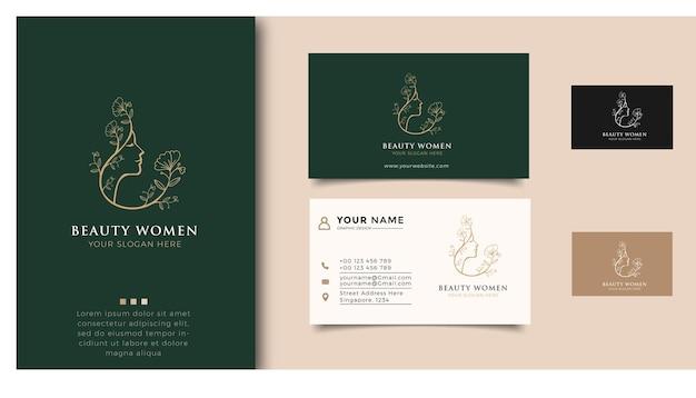 Schoonheidsvrouwen logo inspiratie met visitekaartje voor huidverzorging, salons en spa's, met bladcombinatie leaf