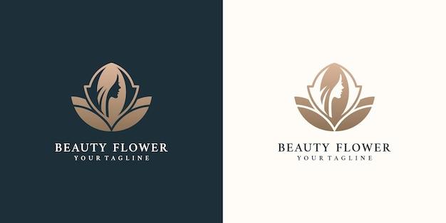 Schoonheidsvrouwen logo-ontwerpinspiratie voor huidverzorgingssalons en spa's met rozencombinatie