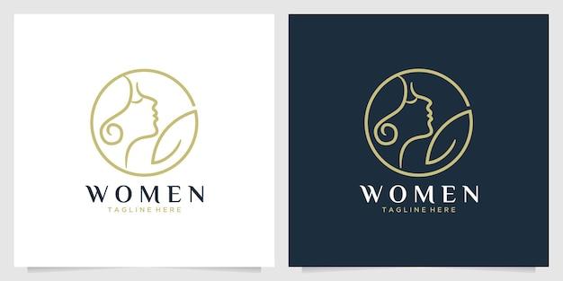 Schoonheidsvrouwen met logo-ontwerp met bladlijnkunst