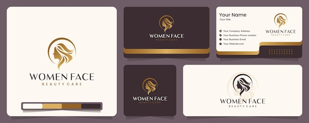Schoonheidsvrouwen, schoonheidsverzorging, vrouwengezicht, gouden kleur, elegantie, banner en visitekaartje, inspiratie voor logo-ontwerp