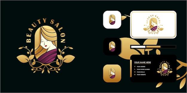 Schoonheidsvrouwen, schoonheidsverzorging, vrouwengezicht, gouden kleur, elegantie, logo en visitekaartje