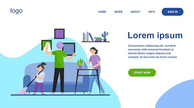 Schoonmaak appartement platte vectorillustratie en gelukkige familie