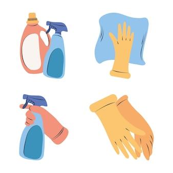 Schoonmaak clipart set wasmiddel spray fles handschoen levert apparatuur Premium Vector