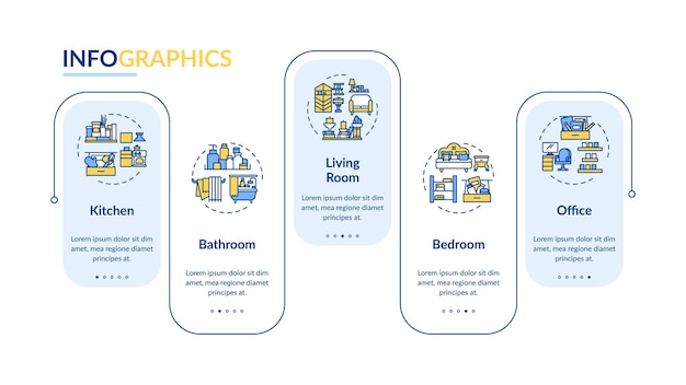 Schoonmaak gebied infographic sjabloon. reiniging van ontwerpelementen voor huis- en kantoorpresentaties. datavisualisatie met 5 stappen. proces tijdlijn grafiek. werkstroomlay-out met lineaire pictogrammen