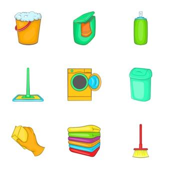 Schoonmaak iconen set, cartoon stijl