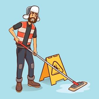 Schoonmaak jongen schoonmaak vloer met de mop lachende cartoon karakter illustratie
