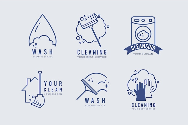 Schoonmaak logo collectie concept
