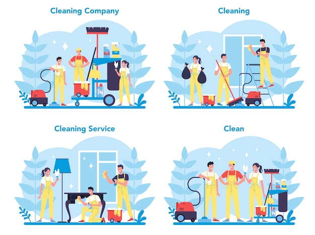 Schoonmaak- of bedrijfsset. inzameling van vrouw en man die huishoudelijk werk doen. professionele bezetting. conciërge wassen vloer en meubels.