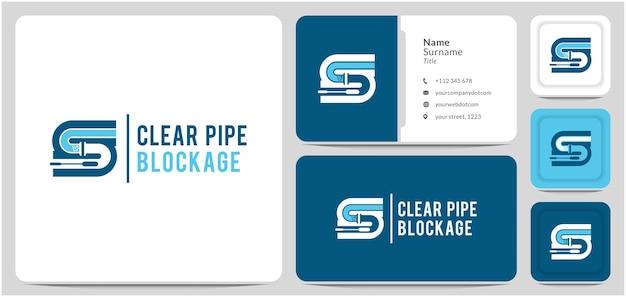 Schoonmaak sanitair logo ontwerp vector verstopping en onderhoud van pijpen repareren