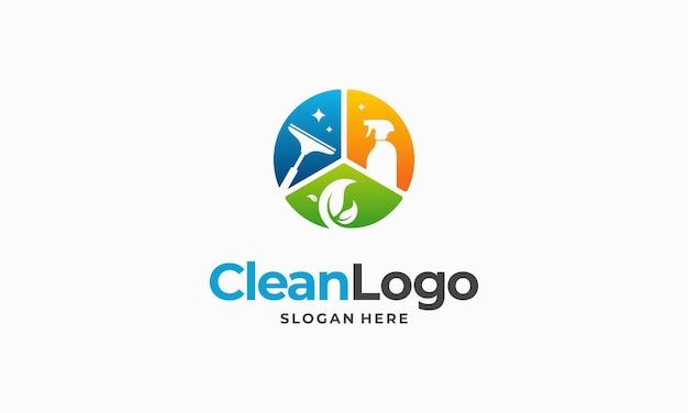 Schoonmaak service business logo ontwerp, eco cleaning logo concept vector
