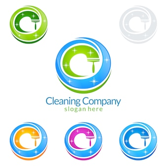 Schoonmaak service logo ontwerp