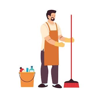 Schoonmaak service man met handschoenen en schoonmaakgerei