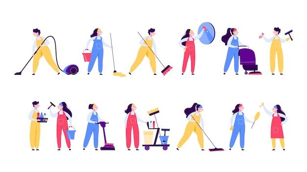 Schoonmaak service set. verzameling van vrouw in uniform