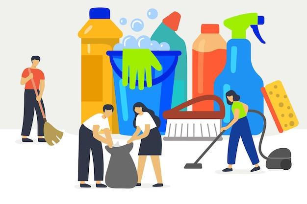 Schoonmaak service vector illustratie concept professionele hygiëne service voor huishoudelijke huishoudens