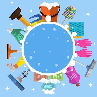 Schoonmaak service vlakke afbeelding. postersjabloon voor huisreinigingsdiensten met verschillende schoonmaakhulpmiddelen. let op nat vloerteken, emmer, dweil, spons, borstel, wasmiddel. vector illustratie