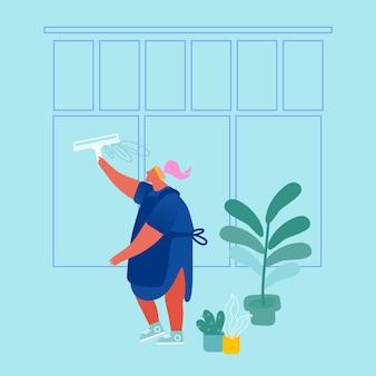 Schoonmaak service vrouwelijk personage in uniform en schort wassen venster met gereedschap. professionele schoonmaakbedrijf werknemer met apparatuur op het werk. huishoudelijke bezetting. cartoon plat