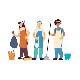 Schoonmaak serviceteam met handschoenen en schoonmaakspullen