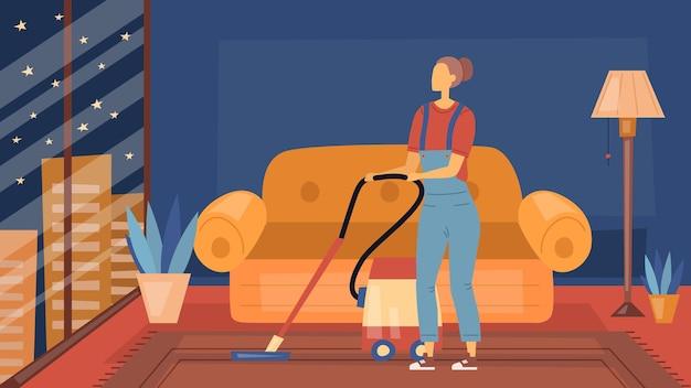 Schoonmaakbedrijf concept. interieur van mode appartement met vrouwelijke personage schoonmaakpersoneel met tools.