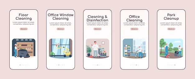 Schoonmaakbedrijf onboarding mobiele app platte schermsjabloon. doorloop van de websitestappen voor schoonmaakdiensten met tekens. ux, ui, gui cartoon-interface voor smartphones, set hoesjes