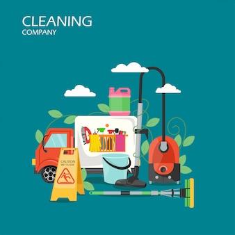 Schoonmaakbedrijf service vlakke afbeelding
