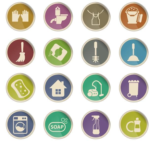 Schoonmaakbedrijf vector iconen in de vorm van ronde papieren etiketten
