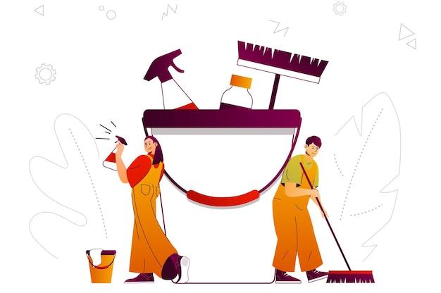 Schoonmaakbedrijf webconcept schoonmakers team levert huishoudelijke diensten