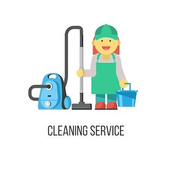 Schoonmaakdienst. de schoonmaakster met de stofzuiger en een emmer in zijn hand.